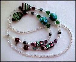 Unique Va Va Voom! Lampwork Glass Bead Eyeglass Chain Holder Leash