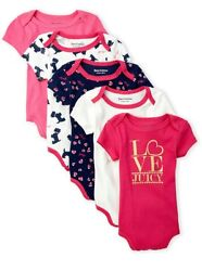 Juicy Couture Baby Girl 5 Piece Mascot Dog Bodysuit Set ~Pink White  $22.50