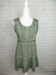 She and Sky Anthro women's size L Green Eyelet Acid Wash Sleeveless Top NWT