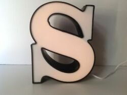 Letter quot;Squot; Commercial Sign Lighted Aluminum Body Plastic Face Used O4