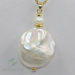 19-22mm White Baroque Pearl Pendant 18 inch Necklace 18k diy accessories AAA
