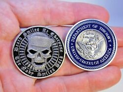 US Navy Collectible Challenge Coin Death Smiles at Everyone the Navy Smiles back