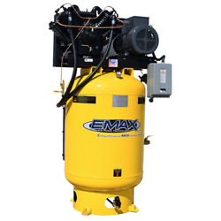 EMAX Industrial Plus Silent Air 10-HP 120-Gallon Pressure Lubricated Two-Stag...