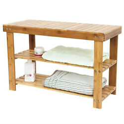 Natural Bamboo Shoe Bench 3 Tier Wooden Rack Organizer Entryway Storage Shelf