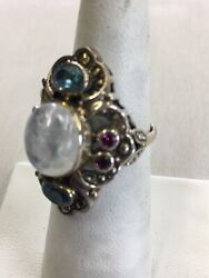 """NICKY BUTLER 1 12""""LONG STERLING SILVER RING MOONSTONE RING SIZE 7.5"""