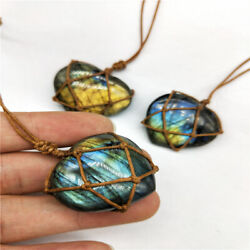 Jewelry Wrap Crystal Moonstone Natural Stone Pendant Heart Labradorite Necklace