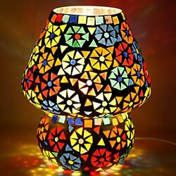 Dome Shaped Multi Color Flower Design Glass Table Lamp Small Size 16 Cm $37.49