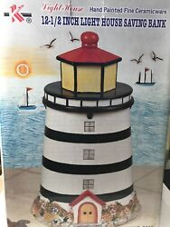 Vintage  - Light House 12-12 Inch Saving Bank - Hand painted Fine Ceramicware  $14.95