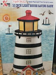 Light House 10 Inches Saving Bank - Hand Painted Fine Ceramicware Preowned $14.95