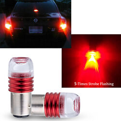 2pcs 1157 7528 2357 LED Red Flashing Strobe Bulbs For Rear Tail Brake Stop Light $15.88