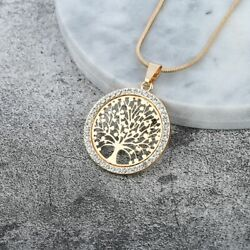 Tree of Life Crystal Pendant Gold Silver Rose Gold Color Round Small Necklace