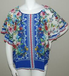 Umgee Plus Boho Floral Layered Ruffle Sleeve Top Blouse Cobalt Blue XL 1XL 2XL $32.35