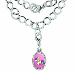 Cute Kawaii Rainbow Unicorn Chibi Silver Plated Bracelet with Oval Charm
