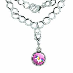 Cute Kawaii Rainbow Unicorn Chibi Silver Plated Bracelet with Antiqued Charm