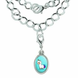 Cute Kawaii Rainbow Llama Unicorn Silver Plated Bracelet with Oval Charm