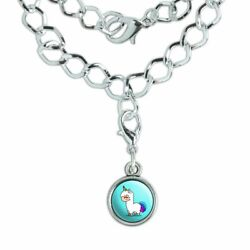 Cute Kawaii Rainbow Llama Unicorn Silver Plated Bracelet with Antiqued Charm