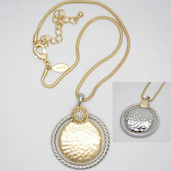 Chico's jewelry two tone hammered matte gold circle pendant reversible necklace