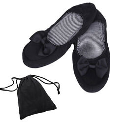 1Pair Women Foldable Portable Travel Ballet Flat Shoes Matching Carrying Case OW
