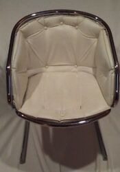 Classic Tubular Chrome White Faux-Leather Chair (70's) [Vintage] (FREE PICKUP)