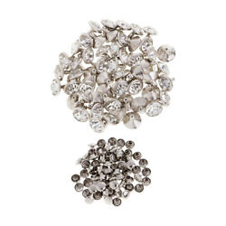 50x Crystal Rivets Stud for DIY Leather Bag Shoes Clothes Decor 10mm Silver $7.04