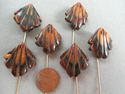 Vintage NOS lot of 6 gorgeous chunky genuine wood stick pins D27
