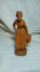 Beautiful Handcarved Wooden Figurine Woman Carrying Basket Made in Italy 8