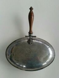 Vintage Silent Butler Silver Plated with Wooden Handle and Engraved Lion