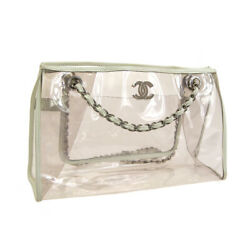 Auth CHANEL CC Logos Double Chain Shoulder Bag Clear White Vinyl Leather AK31727