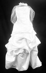 Dineh's Collection White Wedding Dress Gown Strapless Corset Style Sz 2 Veil $99.00