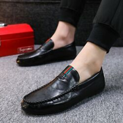 Mens Peas Shoes Lazy Driving Shoes Personality Casual Leather Shoes Loafers 10