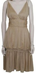 NWT CHANEL 2 PC SILK DRESS GOWN WITH SHAWL WRAP BEIGE NUDE GOLD SIZE 4212 $4355