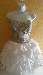 SAMPLE  Sheer Jewel Boned White Silver Corset Tutu Burlesque Wedding Dress