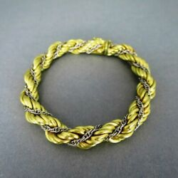 Bracelet with Cord in 750 Yellow Gold and Double Anchor White Gold Italy