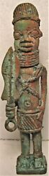 VINTAGE BENIN BRONZE FIGURE OBTAINED IN 1887 BY A MEMBER OF THE ROYAL NAVY