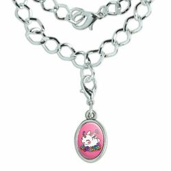 Cute Unicorn Bunny Rabbit Rainbow Flowe Silver Plated Bracelet w Oval Charm