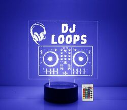 DJ Mixing Board LED Table Light Personalized FREE Custom Lamp w Remote $39.99