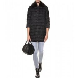 MONCLER Womens SEYNET FUR TRIMMED QUILTED DOWN COAT Black sz 2 M
