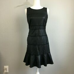 Gianni Bini Black Vegan Leather Sleeveless Ruffle Hem Dress - 4
