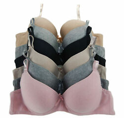 Vintage Classic LOT 3 or 6 pcs Wired Full Cup Light Padded COTTON Bra BCDDD