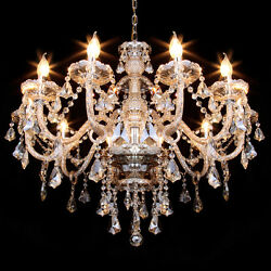 Elegant Crystal Chandelier Light E12 10 Arms K9 Crystal Ceiling Pendant Lamp $104.42