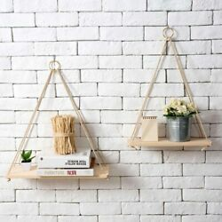 Wall Mounted Floating Shelf Display Home Rope Wooden Hanging Storage Rack Decor