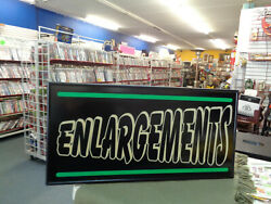 Vintage ENLARGEMENT Advertising Sign  30 x 15 in MAN CAVE SHE SHED STEAM PUNK