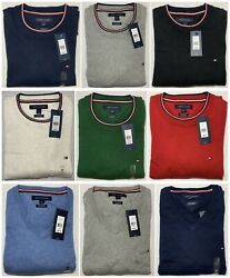 Tommy Hilfiger Men's Pullover Sweater Cashmere Pima Cotton Long Sleeve Flag NWT