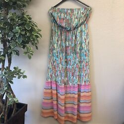 EUC Lane Bryant Mixed Print Colorful Striped Women Maxi Plus Size Dress 14 16 $30.00