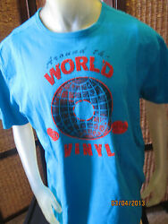 * Mens Size Large L Cremieux Blue VINYL ALBUM Screen Print T- Shirt 100% Cotton
