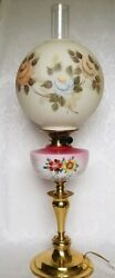 ANTIQUE VICTORIAN OIL Parlor Lamp GWTW Hand Painted ROSES SHADE ELECTRIFIED $139.99