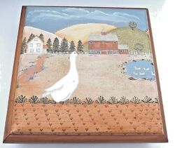 Vintage Hand Painted Country Design Top Wooden Jewelry Trinket Box 9 Inch Square