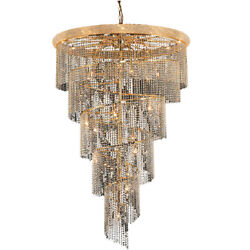 ASFOUR CRYSTAL CHANDELIER LARGE GOLD QUALITY SPIRAL FOYER ENTRYWAY 29 LIGHT 72