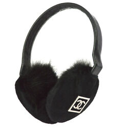 Authentic CHANEL Sport Line CC Logos Cold Weather Earmuffs Black Fur NR12848