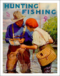 Vintage 1935 Hunting and Fishing magazine steel sign reproduction cabin decor